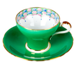 Aynsley China Green with Gold Trim Cup and Saucer