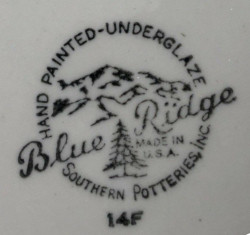 Blue Ridge Southern Potteries Mark ca. Late 1940s